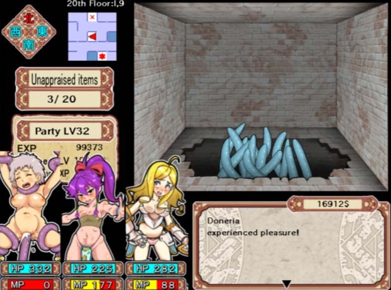 blue tentacles fucking a 2D anime character in dungeon
