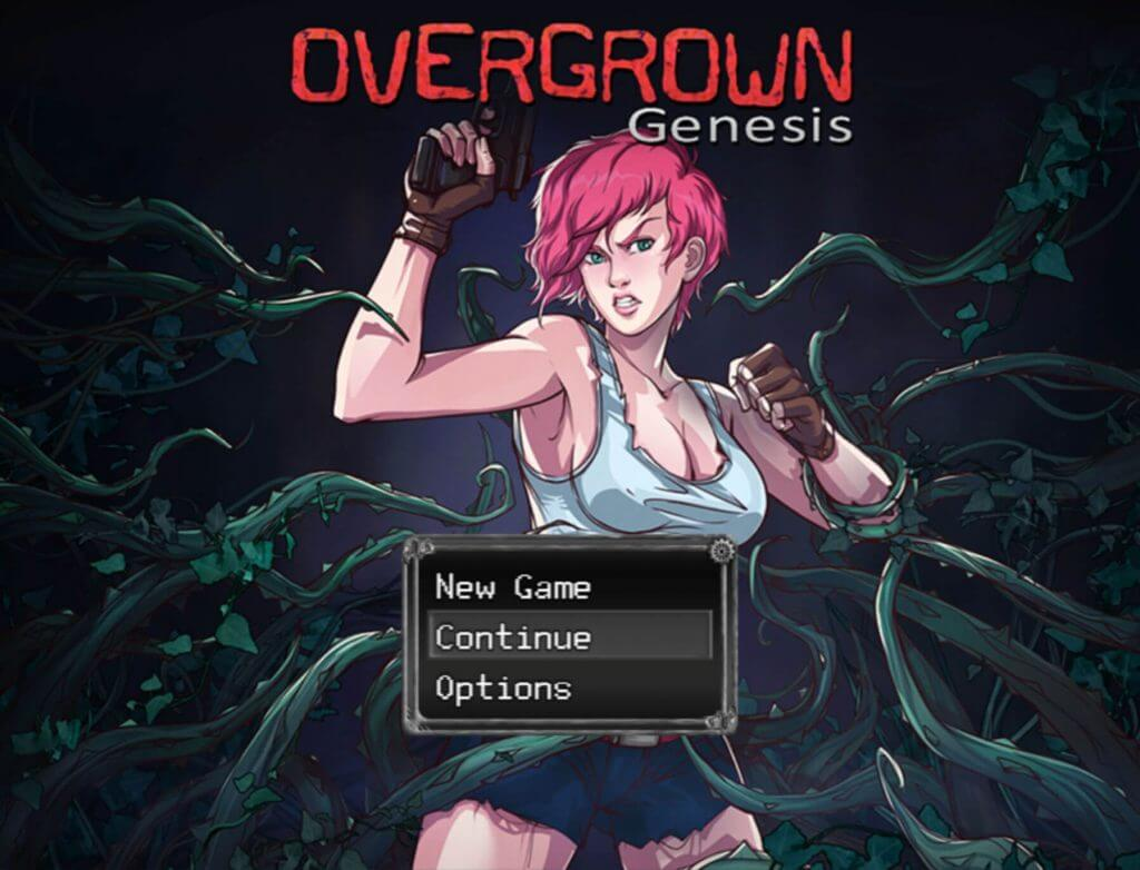 Sexy and tough looking pink haired girl surrounded by spiky vine tentacles