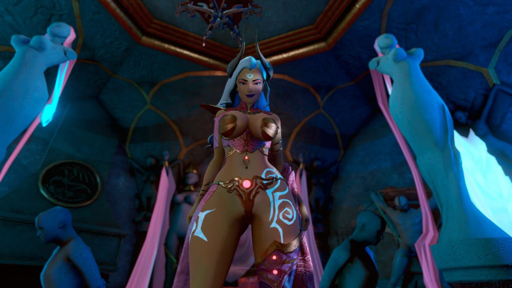 3D Sexy tanned dominatrix with demon horns