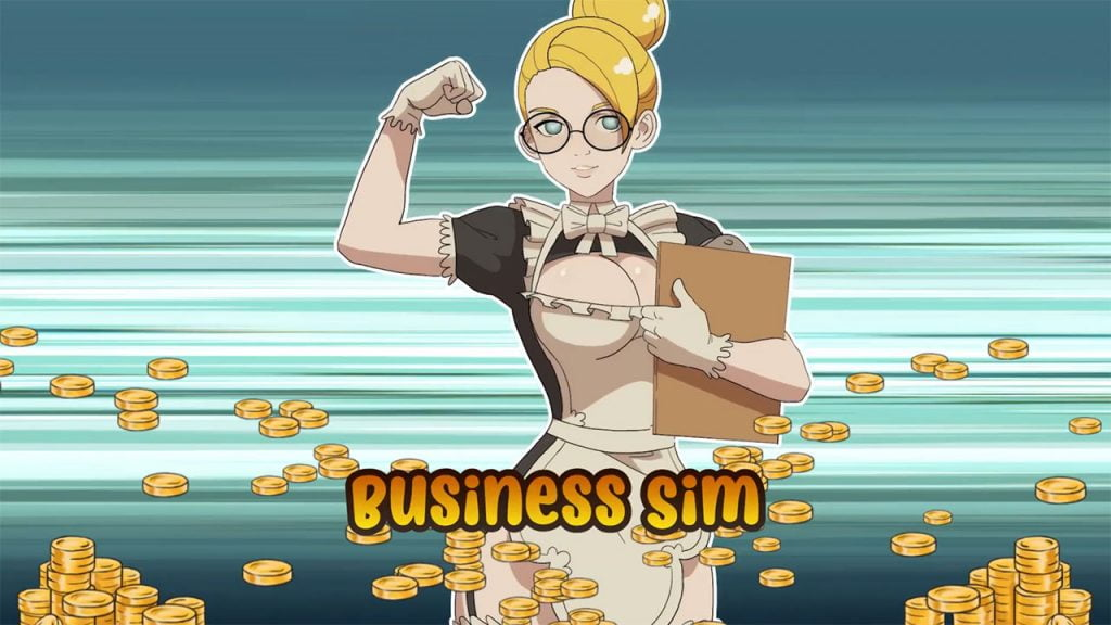 Sexy blonde maid anime girl surrounded by money