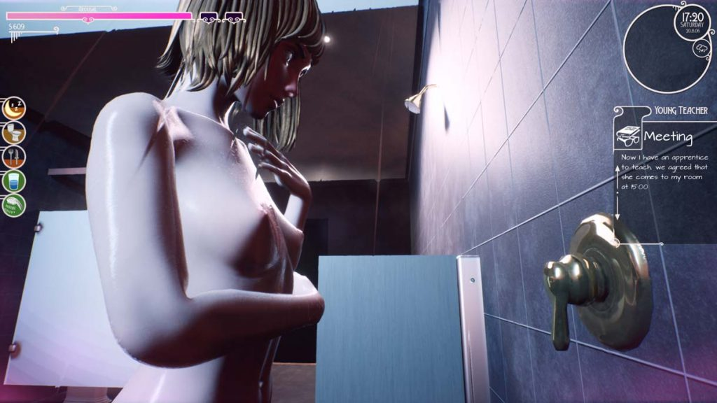 3D sexy naked girl taking a shower in dorm bathroom