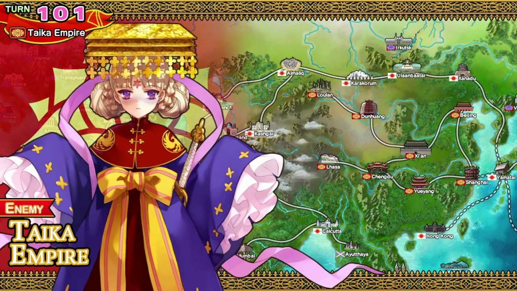 Young cute chinese anime girl next to a dynasty battle map