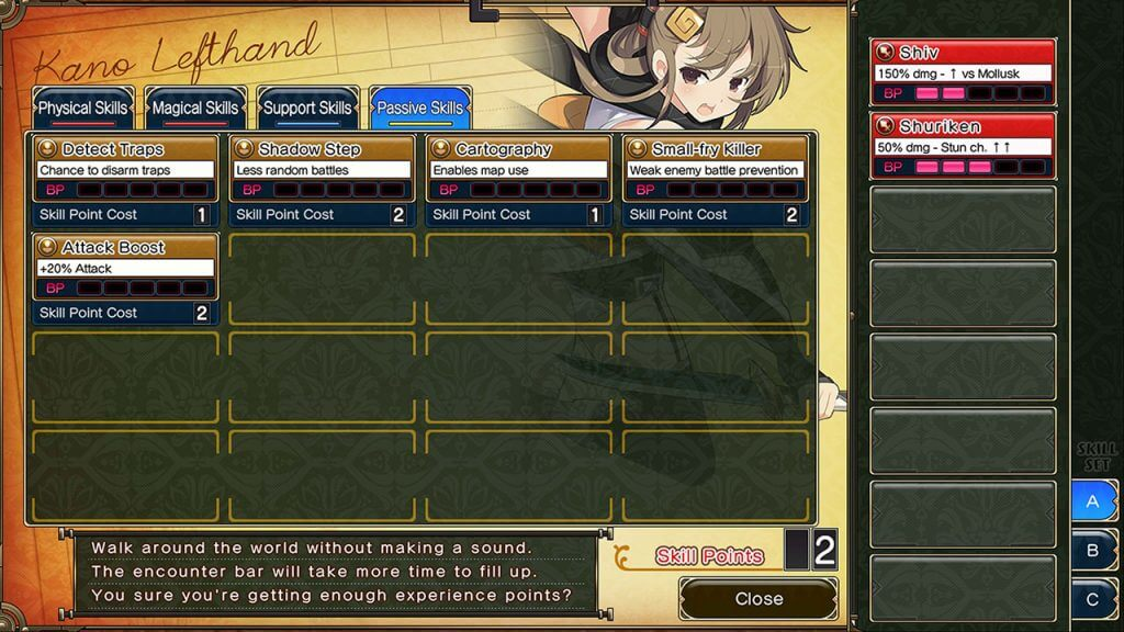 Evenicle 2 Skill system