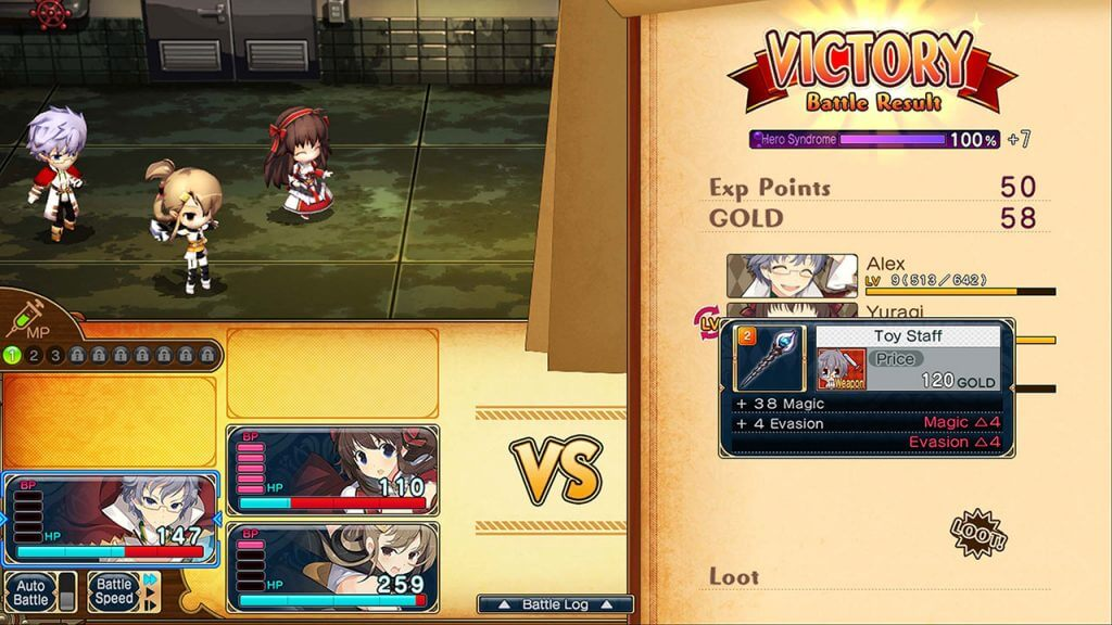 Evenicle 2 combat victory screen