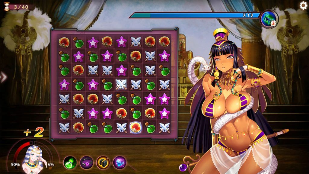 Sexy egyptian anime girl in match-3 puzzle battle game