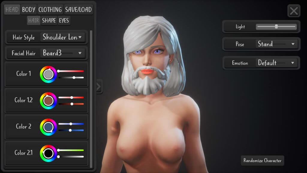 girl with a beard in Monolith Bay character customization
