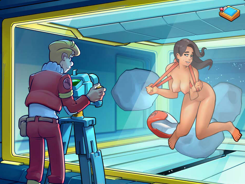 Nude photo shoot in zero gravity room from Space Rescue Code Pink