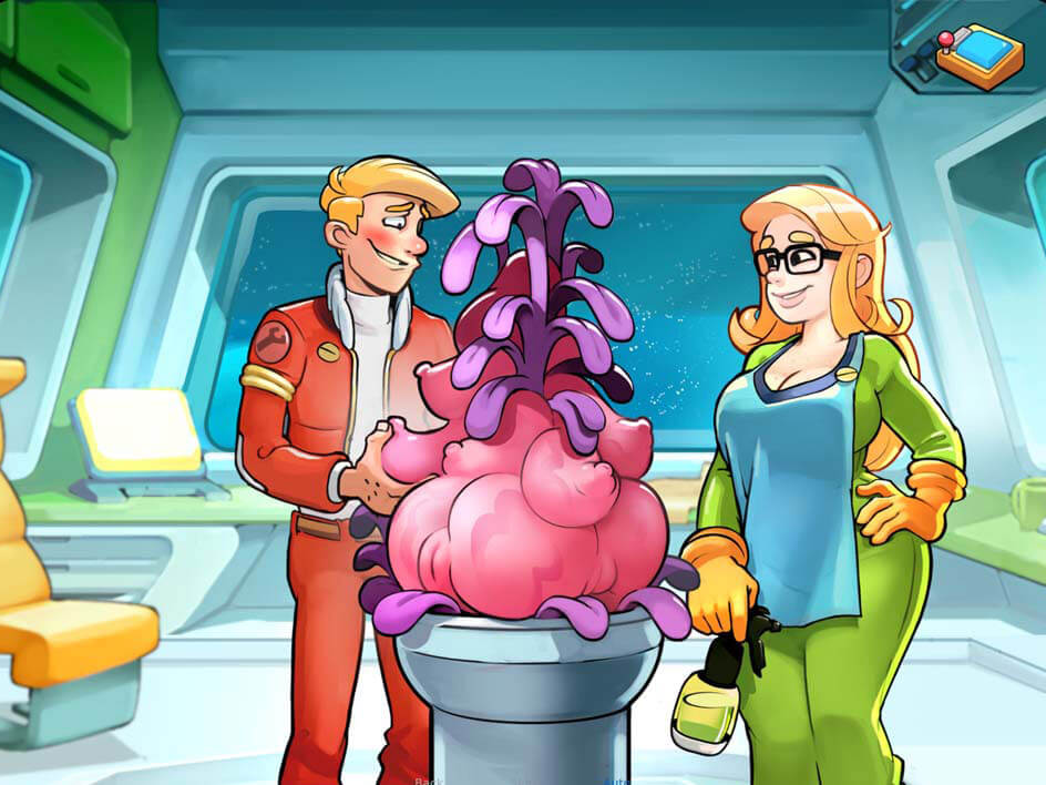 Sexy pink alien plant seducing Keen in Space Rescue Pink