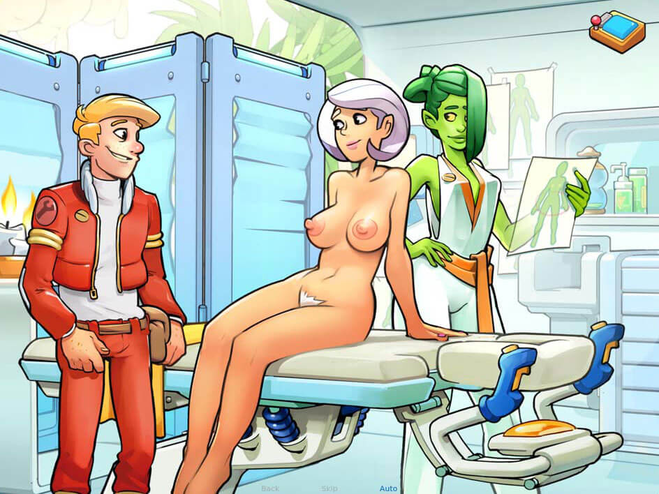 Sexy silver haired girl naked on a massage table next to a green alien