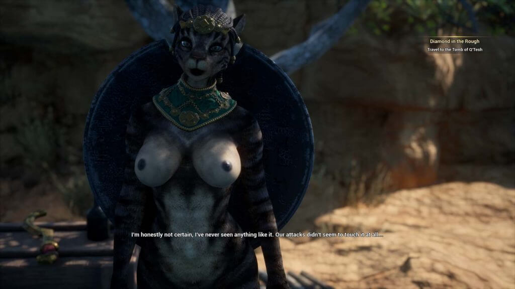 3D sexy naked cat girl with giant shield on her back
