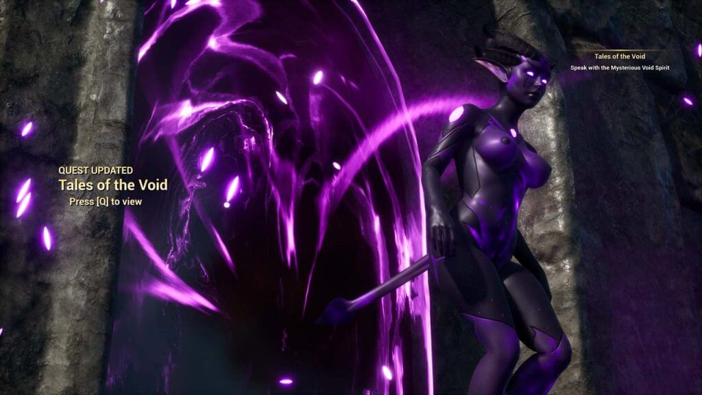 3D Sexy Purple alien exiting a portal