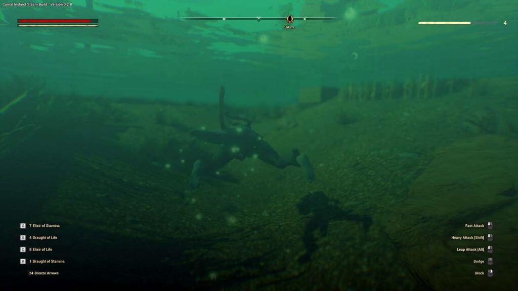 Draconic diving under water in Carnal Instinct