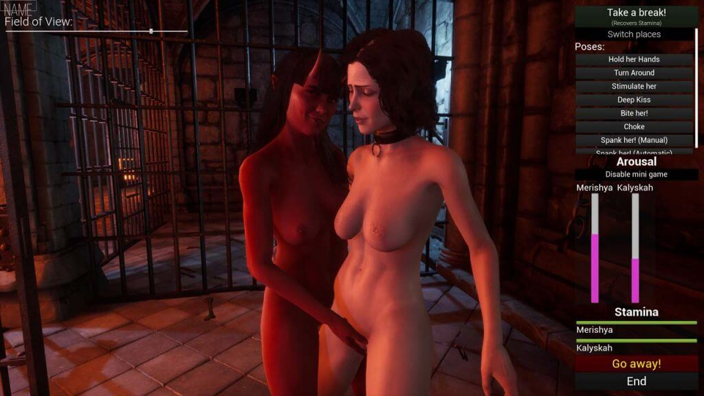 Succubus rubbing a vampire pussy in a cell