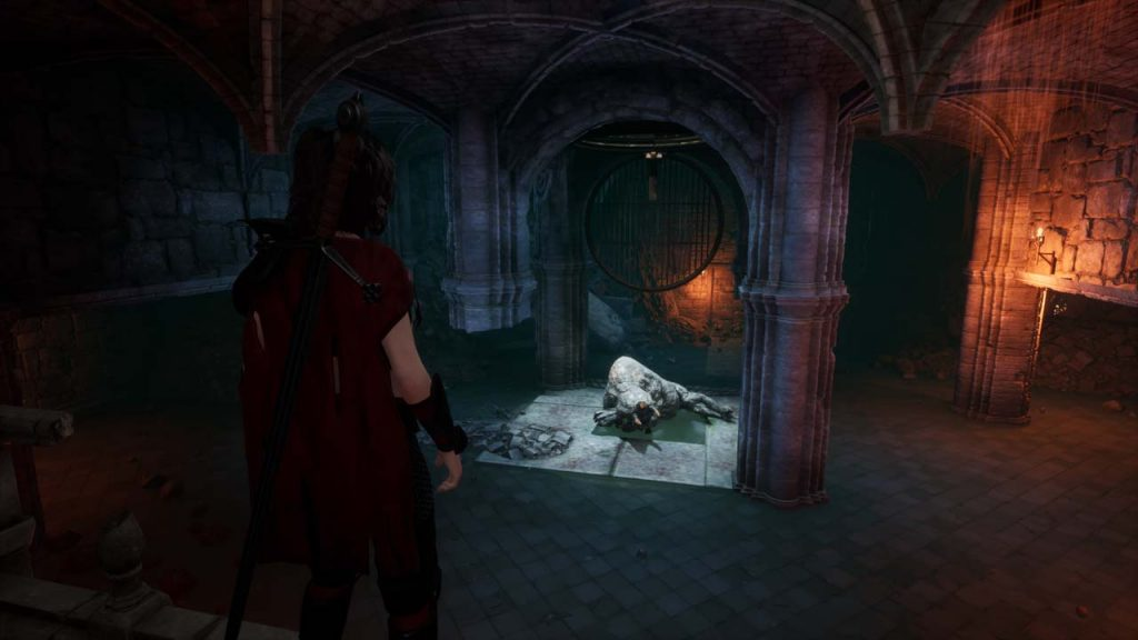 3D Dungeon with giant beast sleeping in a room