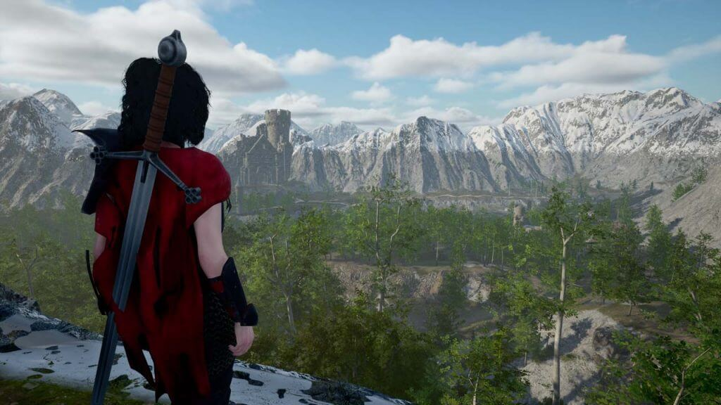 A female warrior looking over an open world landscape