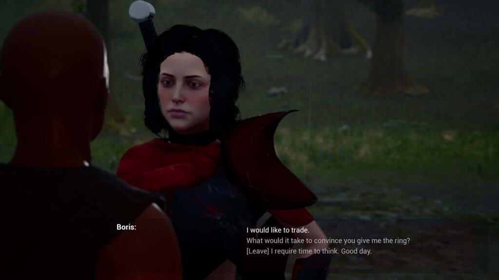 Sexy vampire lady in a forest talking to a black man