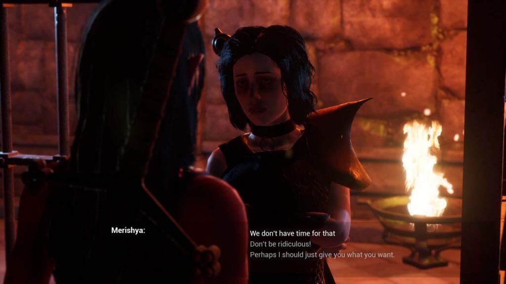 Sexy vampire talking to succubus inside a cell