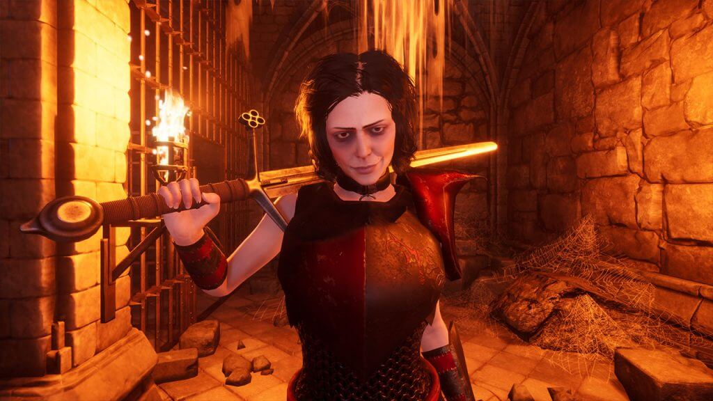 3D Sexy vampire woman in a dungeon