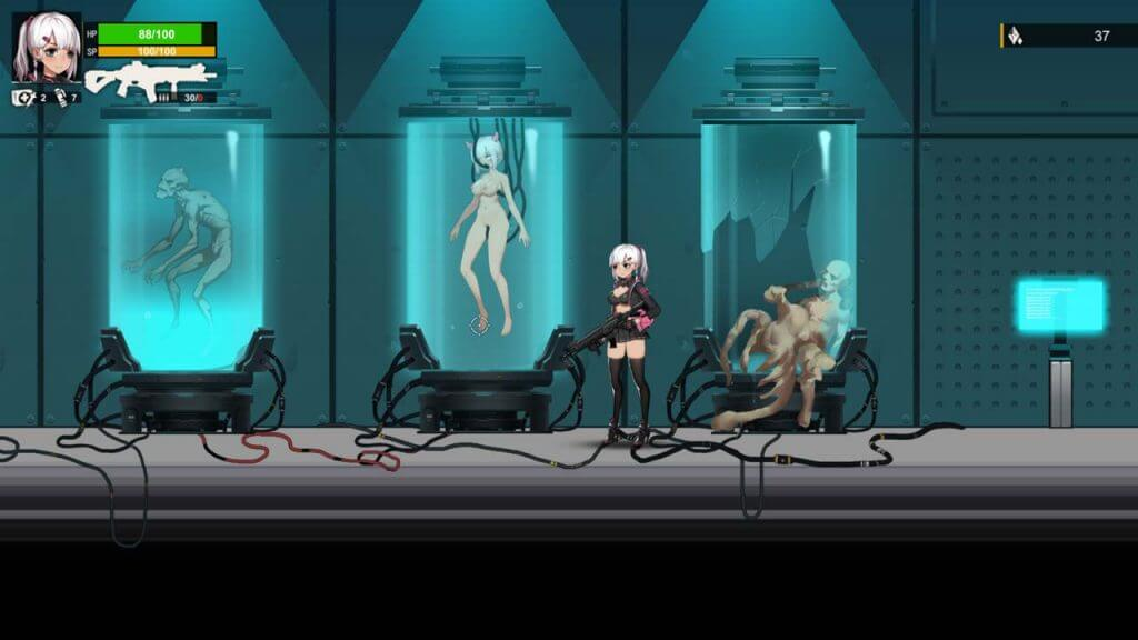Naked anime girl in a liquid tank