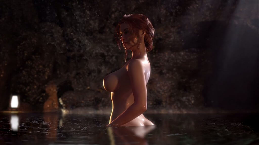 Sexy busty naked redhead skinny dipping