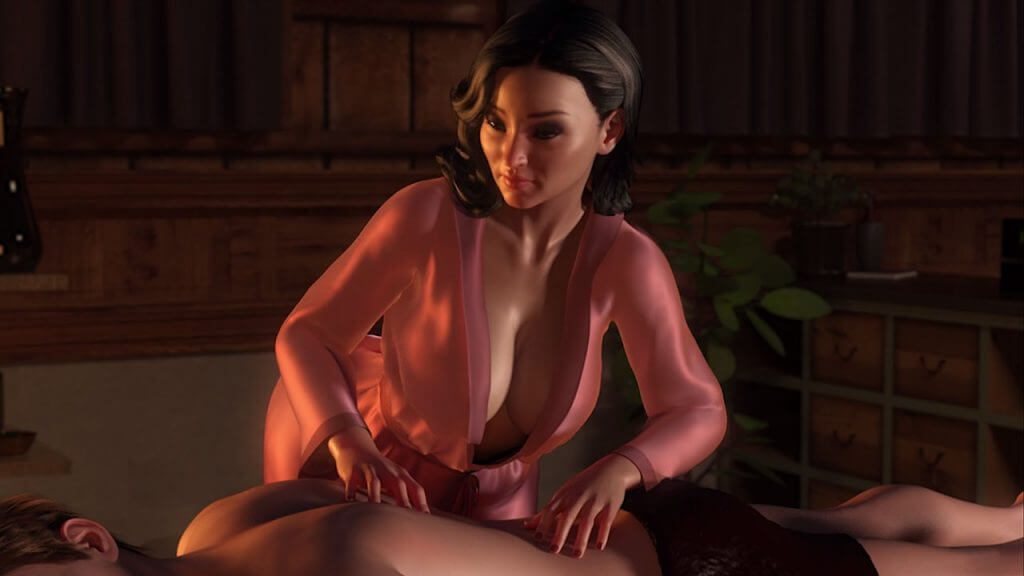 Sexy asian Masseuse dressed in pink 3D