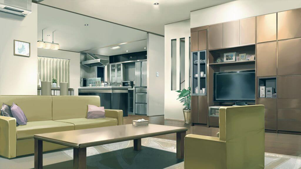 artwork of living room drawn in anime style